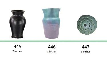 Muncie Pottery Shapes 445, 446, 447