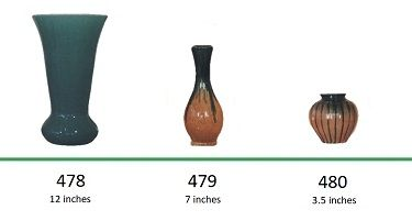 Muncie Pottery Shapes 478, 479, 480